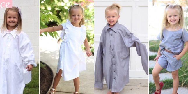 Eski Kıyafetler Çöp Değil! Eski Gömleklerden Kızına Elbiseler Yaptı!